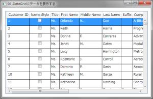 DataGridにデータを表示する例