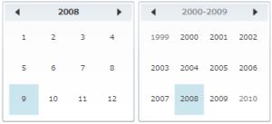 DisplayModeプロパティがYearとDecadeの例
