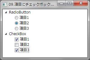 項目にチェックボックスやラジオボタンを表示する例