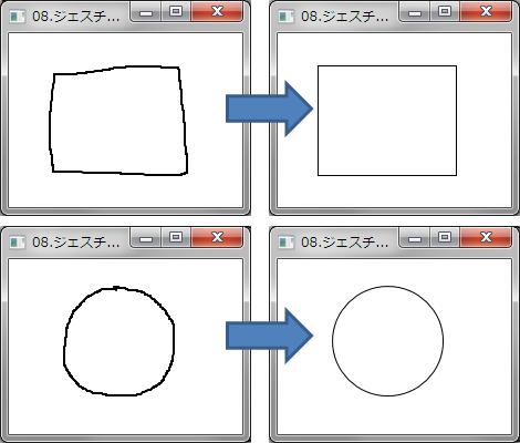 ジェスチャで認識した情報を元に図形を描画する例