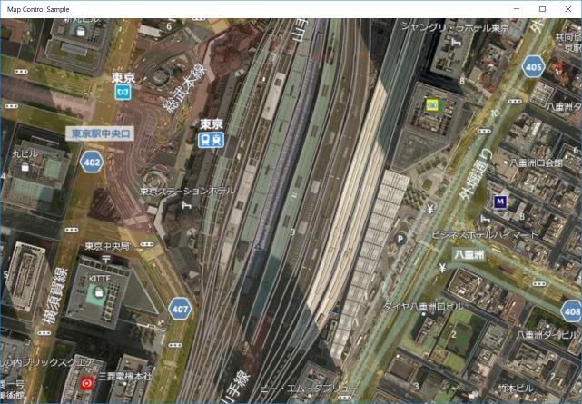航空地図(3D)&道路地図を表示する例