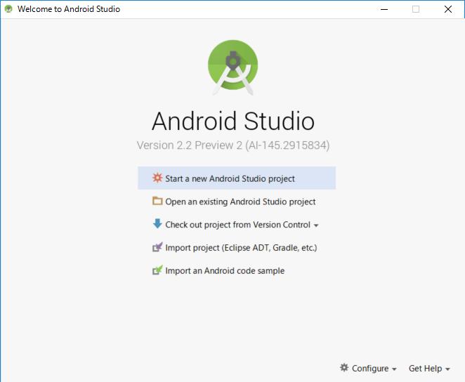 Android Studioの起動画面