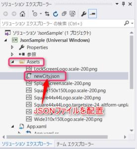 JSONファイル配置後のAssetsフォルダ