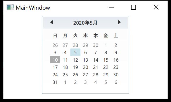 SelectedDate プロパティの使用例