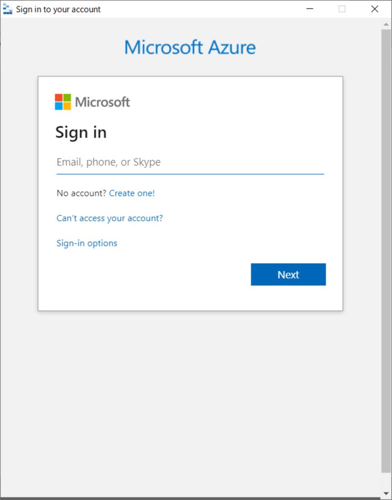 Azure へのサインイン